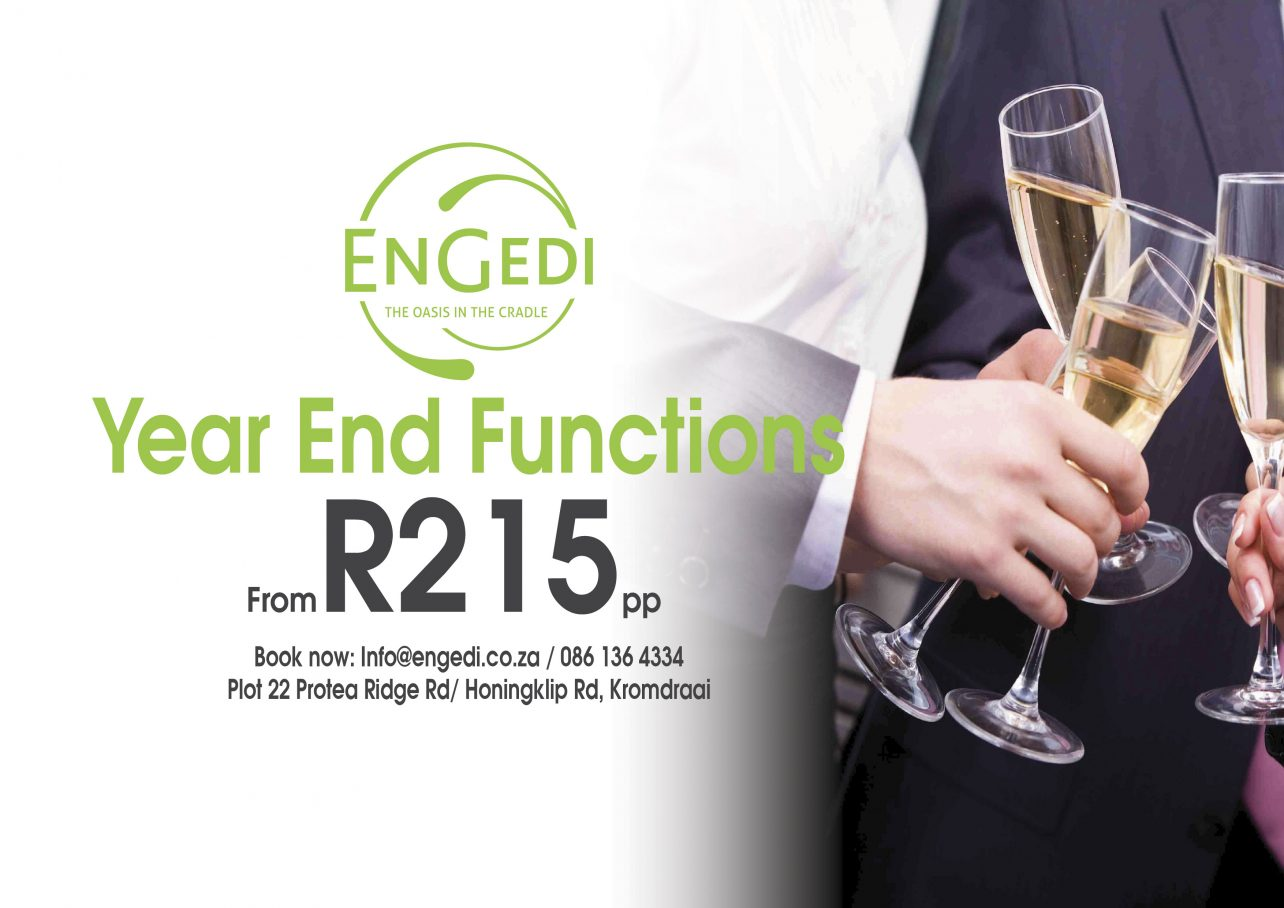 Book your year end function from only r215pp engedi